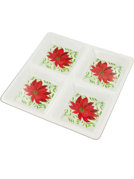 Sectioned Poinsettia Party Tray (Available in a pack of 12)