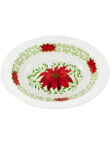 Poinsettia Print Oval Bowl (Available in a pack of 12)