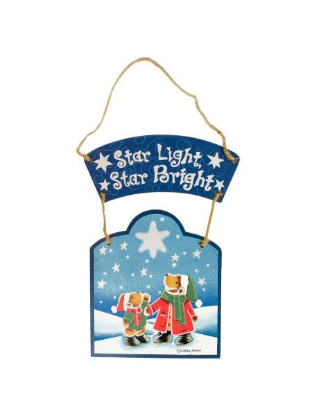 Star Light, Star Bright Wooden Christmas Plaque (Available in a pack of 24)