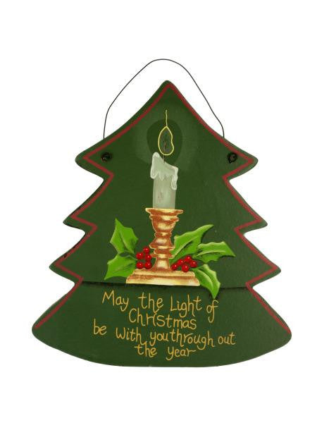 Hanging Wooden Christmas Tree Plaque (Available in a pack of 24)