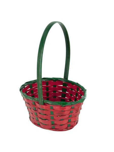 Mini Red & Green Wicker Holiday Basket (Available in a pack of 24)