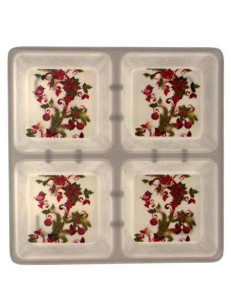 Four Section Square Dish with Holly Design (Available in a pack of 8)