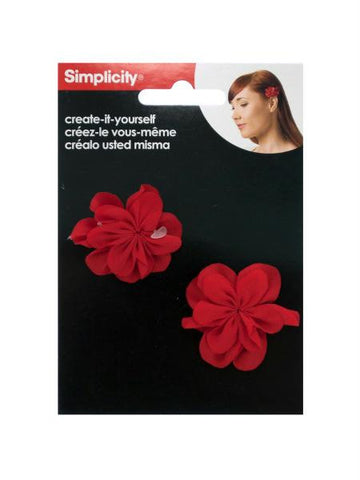Simplicity 2 pack create it yourself red fabric flowers (Available in a pack of 24)