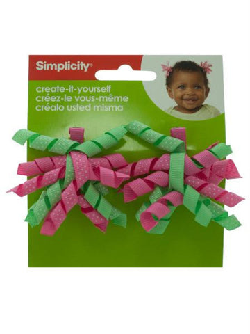 Simplicity 2 piece mini green-pink korker hair clips (Available in a pack of 18)