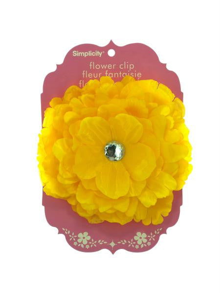 Large Yellow Flower with Jewel Clip (Available in a pack of 15)