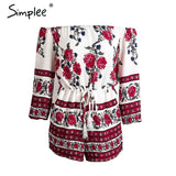 Simplee Apparel Sexy off shoulder red floral print elegant jumpsuit romper 2016 Summer Style beach short playsuit Women overalls