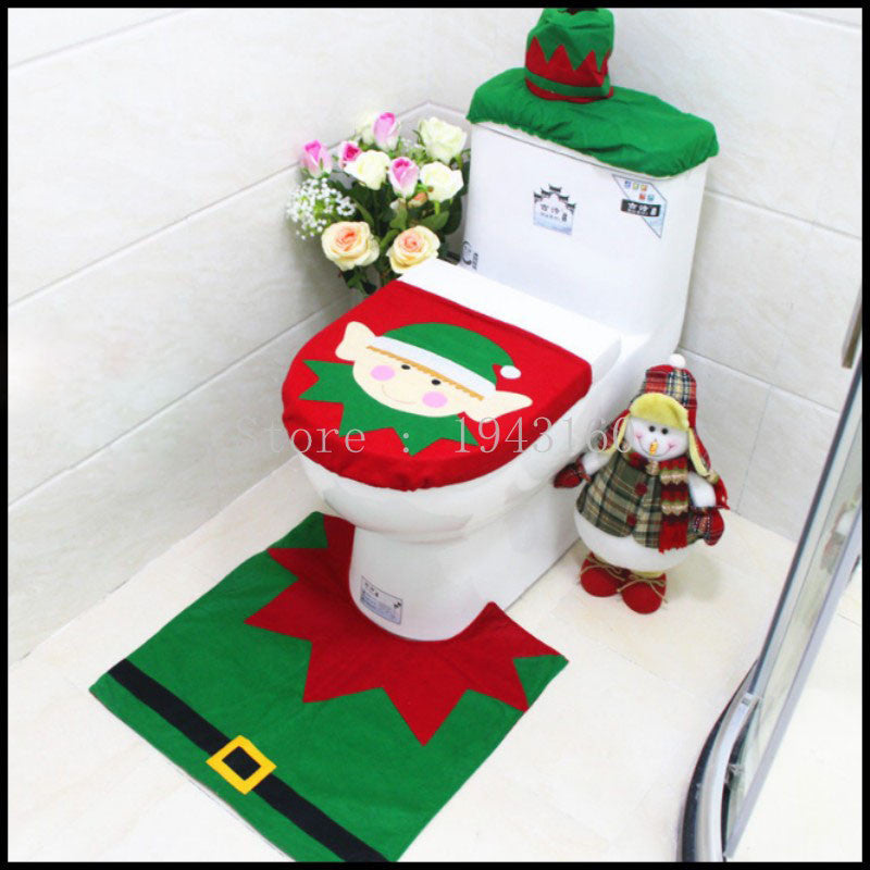 3pcs/lot Christmas Decoration 2016 for Home Santa Toilet Seat Cover Rug Bathroom Se Santa Claus Merry Christmas Ornament