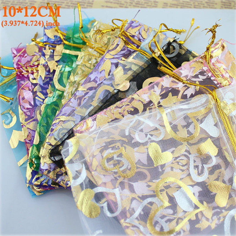 Organza Bag Packaging Bags Wedding Gift Bags100pcs/pack Random Mix Drawable Organza Pouches10x12cm Bolsas de Organza Bags