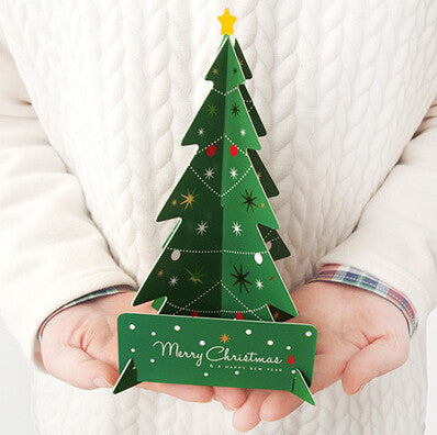Merry Christmas 3D Tree Greeting Card Postcard Birthday Message Card Set Thanksgiving Card Letter Envelope Gift Card set