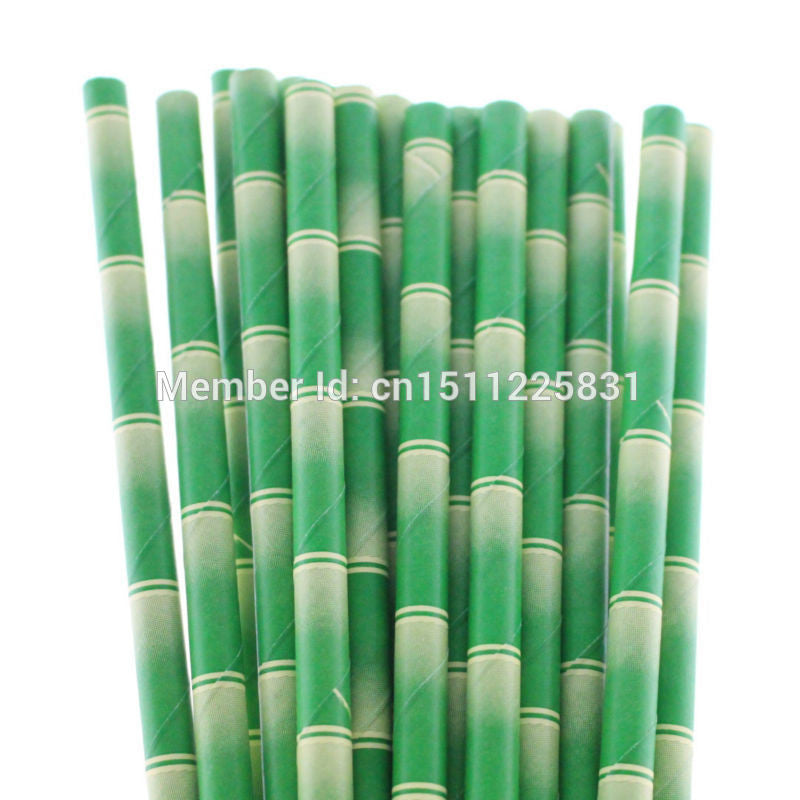 Eco-friendly Party Drinking Paper Straws Wedding Party Favor Decor Bamboo Paper Straws