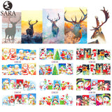 Sara Nail Salon 1pcs Watermark Stickers DIY Nail Decals Water Transfer Snowman Elk Cartoon Christmas Designs Manicure BN229-240
