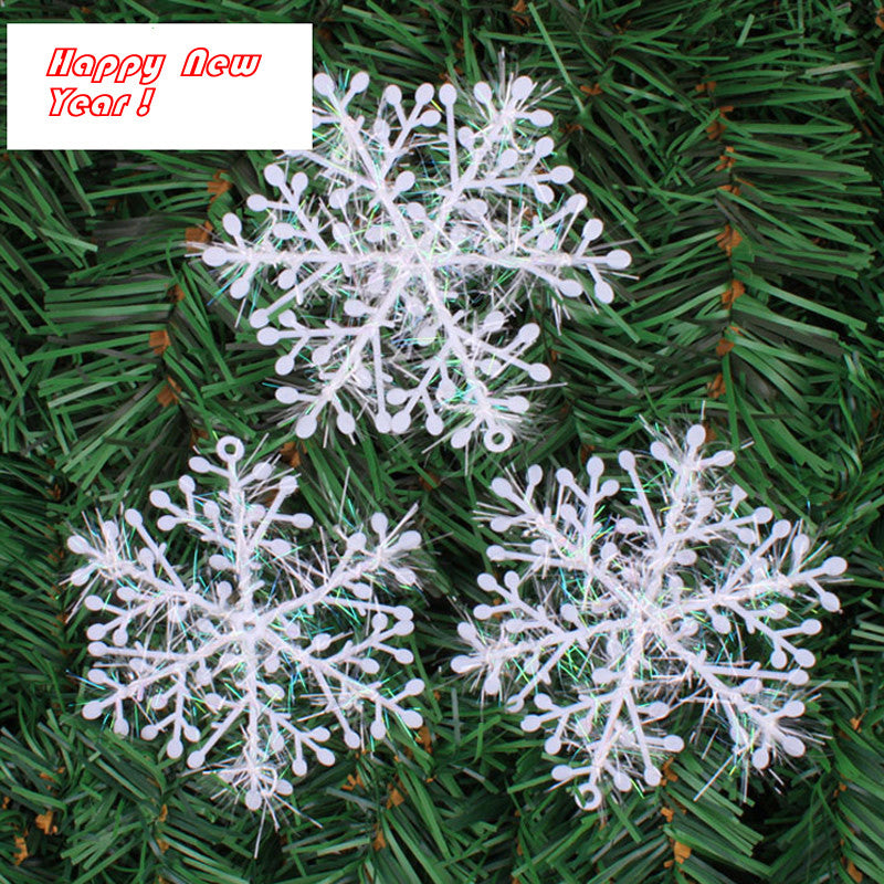 60 PCS Christmas Holiday White Snowflake Charms for Party Home Office Ornaments