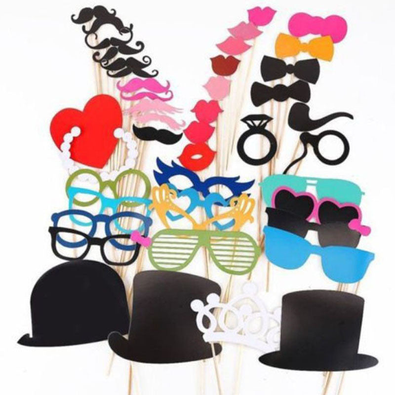 44Pcs/lot  DIY Christmas Party Photo Booth Props Mask Mustache Glasses Funny For Wedding Birthday Party decoration Best Price