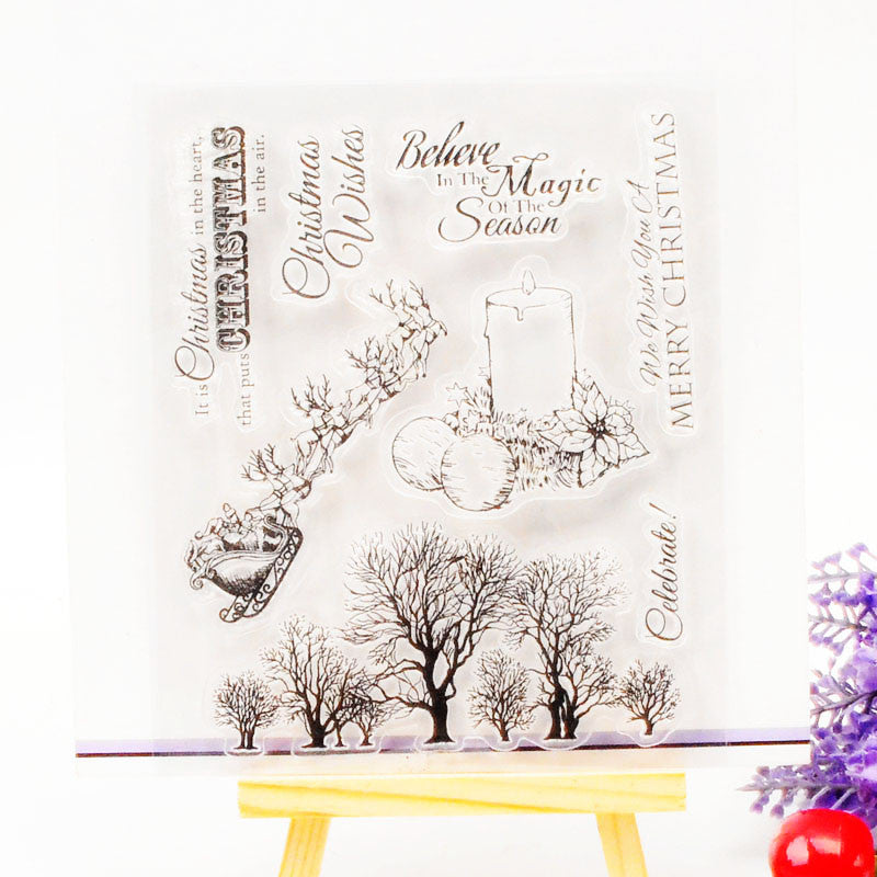 DECORA 1PCS Sleigh Tree Design Silicone Transparent Clear Stamp DIY Scrapbooking Christmas Decoration Supplies