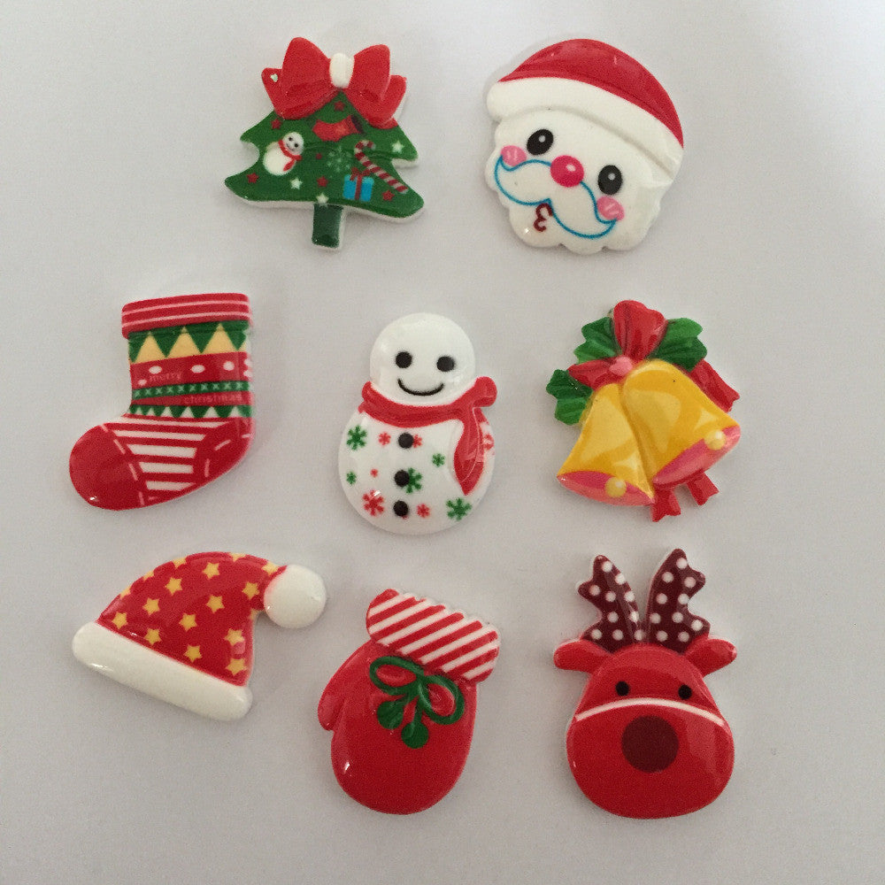 HOT 8pcs mix Resin Christmas series combination Flatback scrapbooks decoration DIY F014