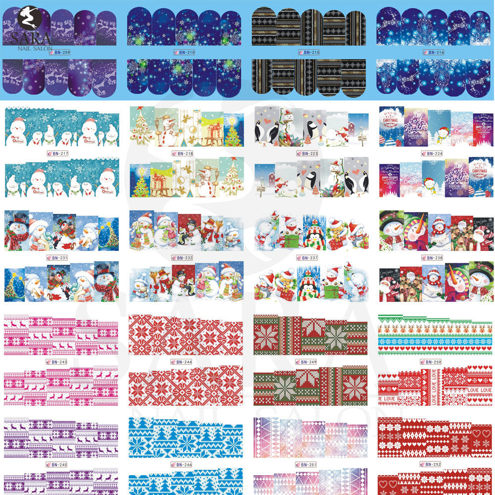 48pcs/lot Christmas Style Nail Stickers Snowflake/Santa /Bell/Deer Nail Art Water Transfer Decals Full Wraps DIY BN205-252