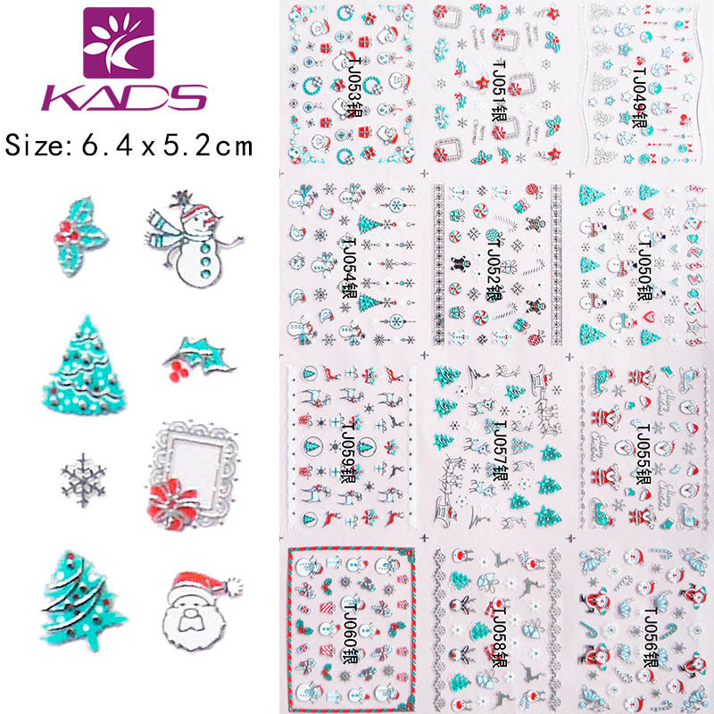 TJ049-60 Christmas design 3D silvery Nail Art Stickers Decals Wraps Salon Express DIY Tips Styling nail Tools