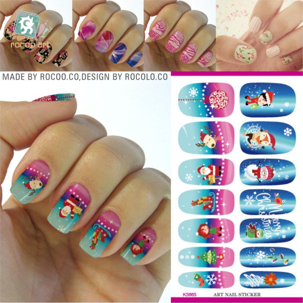 2016 New Arrival Nails Water Transfer Sticker Manicure Cartoon Stickers K5665 Nail All The Christmas And New Year