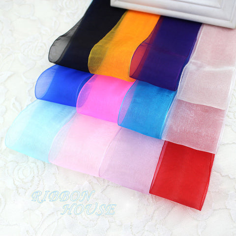 (10 yards/lot) 2''(50mm) Organza ribbons wholesale gift wrapping decoration Christmas ribbons