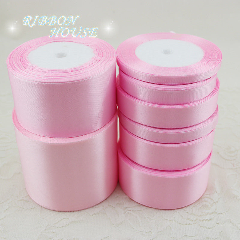 (25 yards/roll) Pink Single Face Satin Ribbon Wholesale Gift Wrapping Christmas ribbons