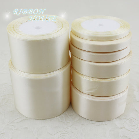 (25 yards/roll) Ivory Single Face Satin Ribbon Wholesale Gift Wrapping Christmas ribbons