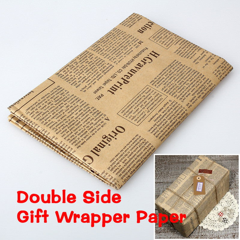 2016 New Wrapping Paper Wrap Gift Wrap Double Sided Christmas Kraft Paper Vintage