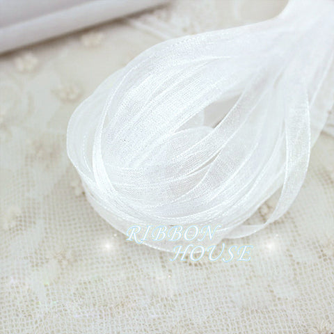 (10 meters/lot) 1/4''(6mm) White organza ribbons wholesale gift wrapping Christmas ribbons
