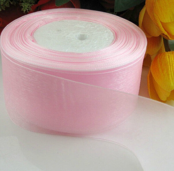 (10 yards/lot) 2'' (50mm) Pink organza ribbons wholesale gift wrapping decoration Christmas ribbons D043