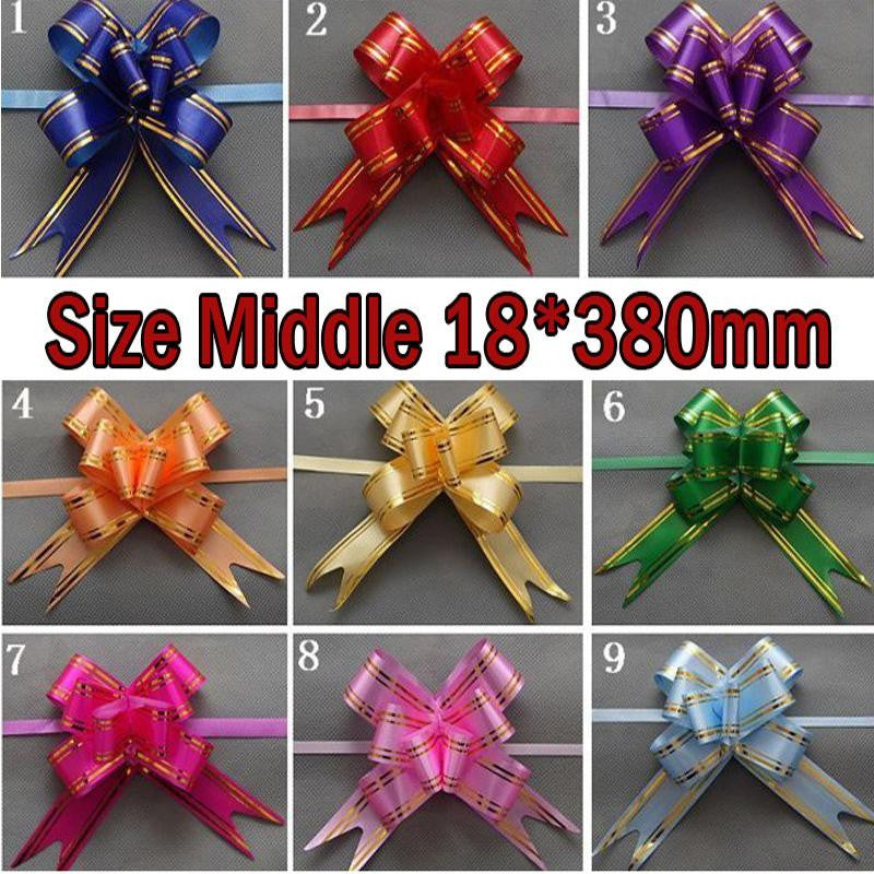 Size Middle 18*380mm Pull Bows Ribbons Flowers Gift Wrapping Christmas Wedding Party Decoration Pullbows