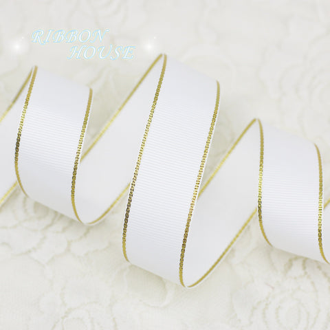 (5 yards/lot) White Gold Edge Grosgrain Ribbon Wholesale Gift Wrapping Christmas ribbons