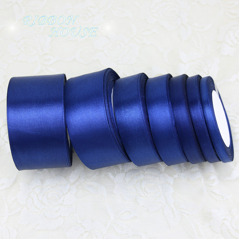 (25 yards/roll) Deep Blue Single Face Satin Ribbon Wholesale Gift Wrapping Christmas ribbons