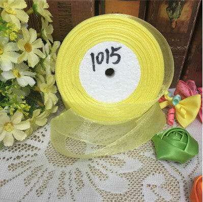 (10 yards/lot) 1'' (25mm) Yellow organza ribbons wholesale gift wrapping decoration Christmas ribbons D1015