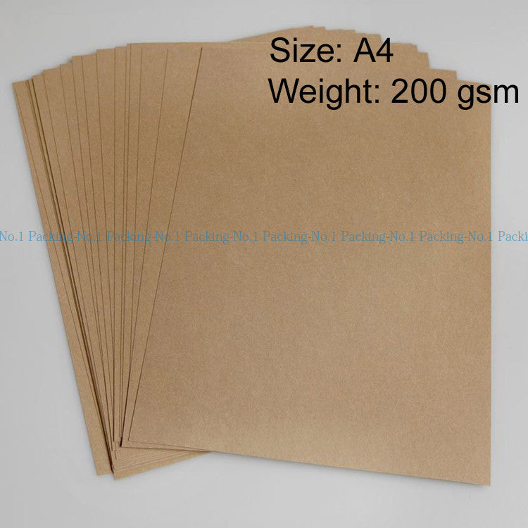 50pcs/lot 200gsm A4 Brown Kraft Paper Wood Pulp classic Paper gift wrapping paper Writing paper NO.1 packing