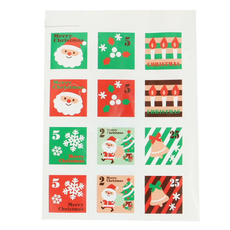 New 12 seals Xmas Decorative Sealing Sticker Merry Christmas Gift Sticker Wrapping Food Bag Cookie Letter Envelope