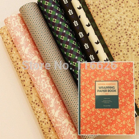 Seven-plus Vintage Style Decorative Gift Wrapping Paper Book of different Designs Festival Gift Packing Paper Kit 24sheets/lot