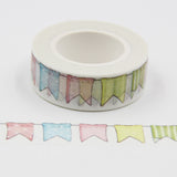 1PC 10M 5Styles Cute Flags Pattern Washi Tapes Masking Paper Tape For DIY Crafts Decoration/Kids Gift Wrapping/Diary Sticker