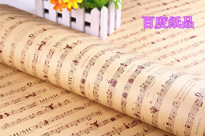 20 PCS/ set kraft paper gift wrap wallpaper notes Classical music score Event Party Supplies wrapping gift paper free shipping