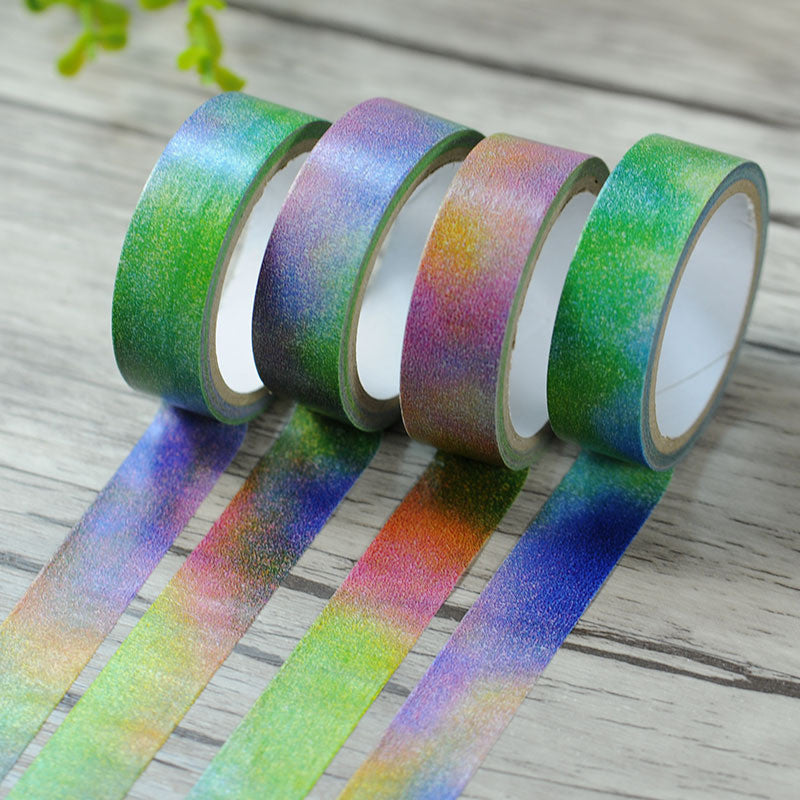 Rainbow Color Nice Washi Paper Masking Tape Scrapbooking Tapes Gift Wrapping Sticker DIY Stickers Diary Deco Photo Album Decals