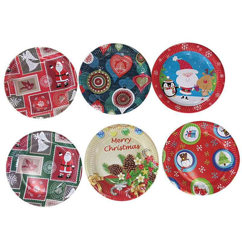 100pcs Christmas Plates Cup polka Paper plate Dinner Dishes for Birthday Wedding Party  Festival Tableware Supplies Decration