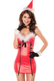 sexy Present North Pole Mini Costume cosplay Flirty Santa V-Neck holiday pvc faux leather Lingerie 3pcs Christmas Dress Red 7212