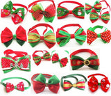 50PC/Lot Handmade Christmas Dog Bow Ties Festival Dog Ties Neckties Pet Accessories