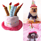 Cute Cat Dog Pet Happy Birthday Party Hat with 5 Colorful Candles Design Cosplay Costume Accessory  for Small Dogs Cats