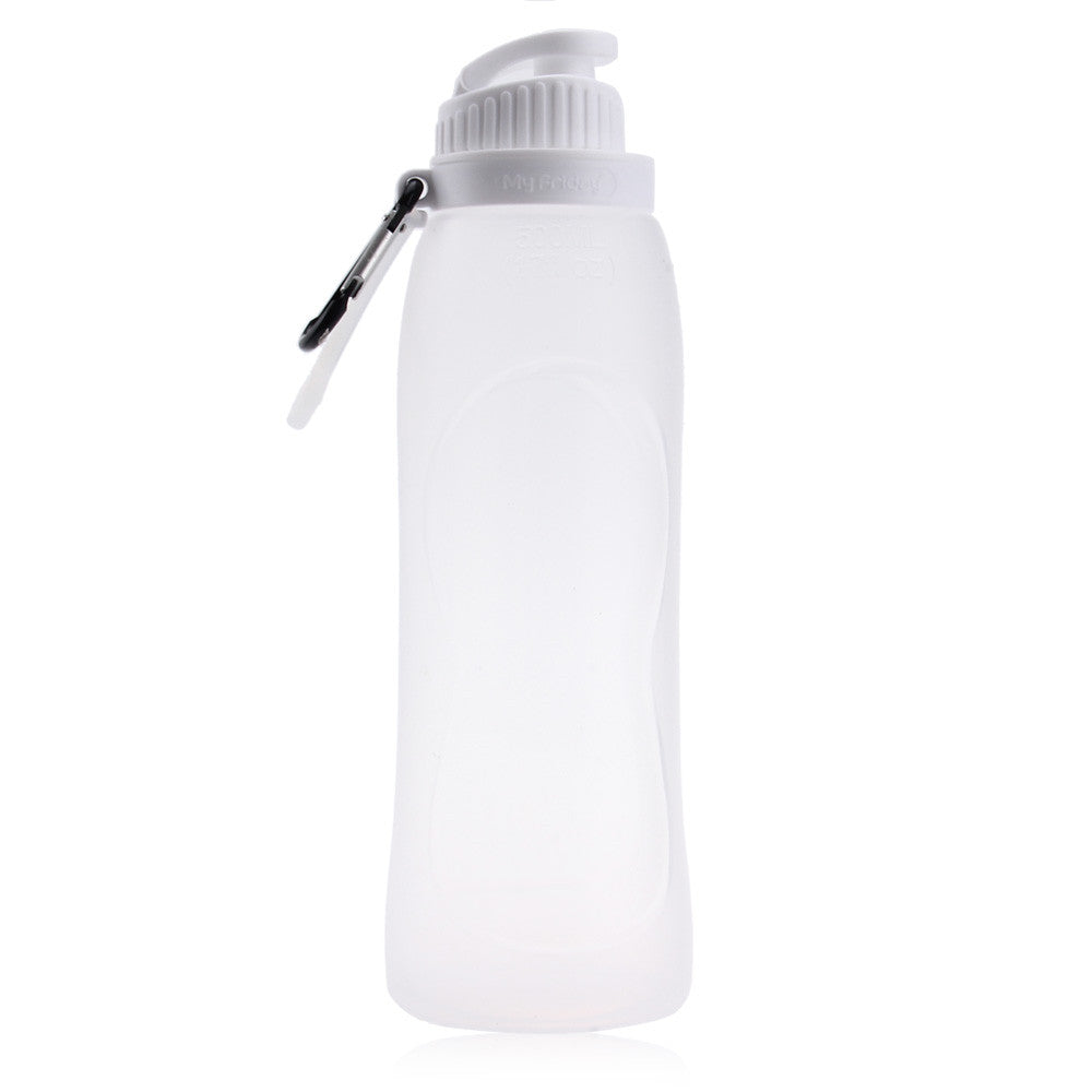 500ML Foldable Leakproof 100% Food Grade Silicone Water Bottle Direct Drinking With Rope Drinkware for Outdoor Sports Hiking