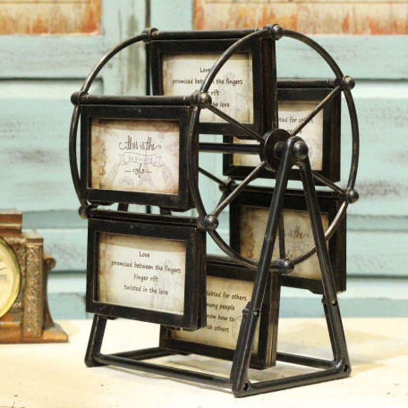Creative Ferris wheel shaped photo frame 4 inch retro photo windmill 6 pcs Photo frame combination Desktop Decoration DL16400