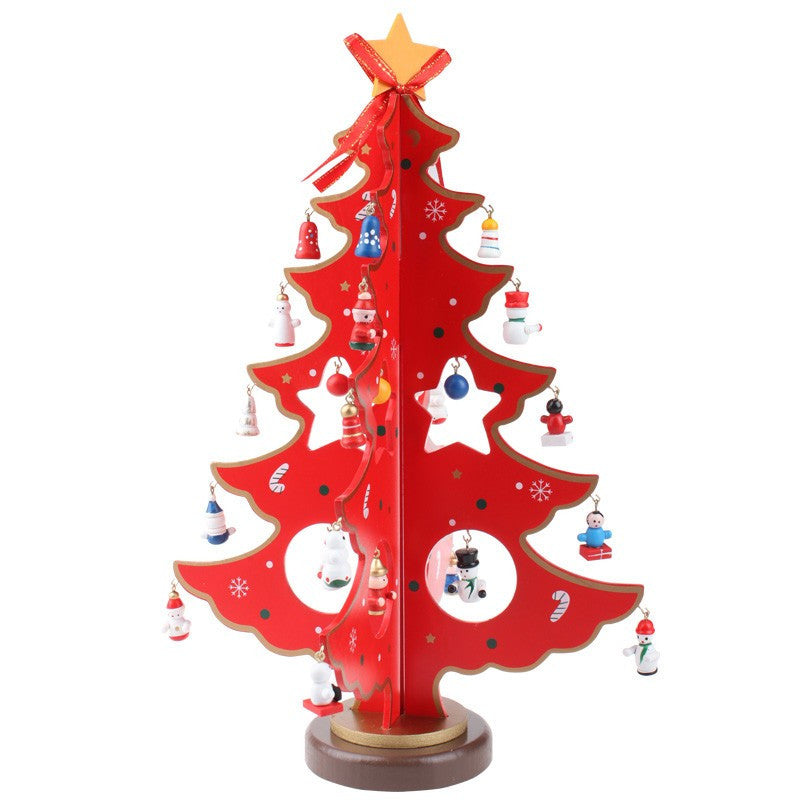 New XMAS Gift Table Christmas Trees Decoration Wood Christmas Tree with Ornament Sided Glossy Red Wood Tree, Best Gift