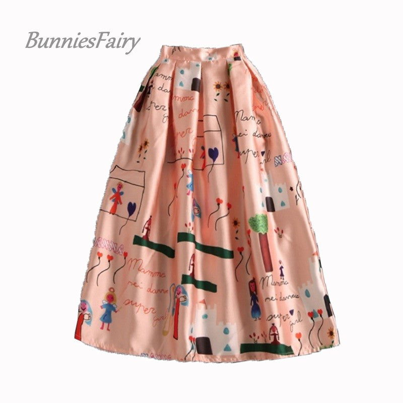 BunniesFairy 2016 Spring New Female Cute Kids Character Love Heart Cartoon Print High Waist Pleated Midi Skirt Flared Plus Size