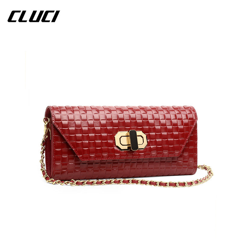 CLUCI 2016 New Women Shoulder Bags Chain High Quality Hasp Hard Good Leather Flap Solid Vrouwen Messenger Bags Fashion Hot
