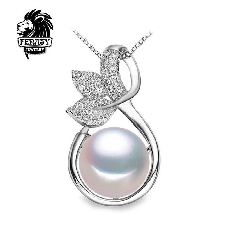 FENASY fairy Necklace design Pearl Pendant,2016 new,fashion style Natural Freshwater Pearl Silver Necklace Pendant for women