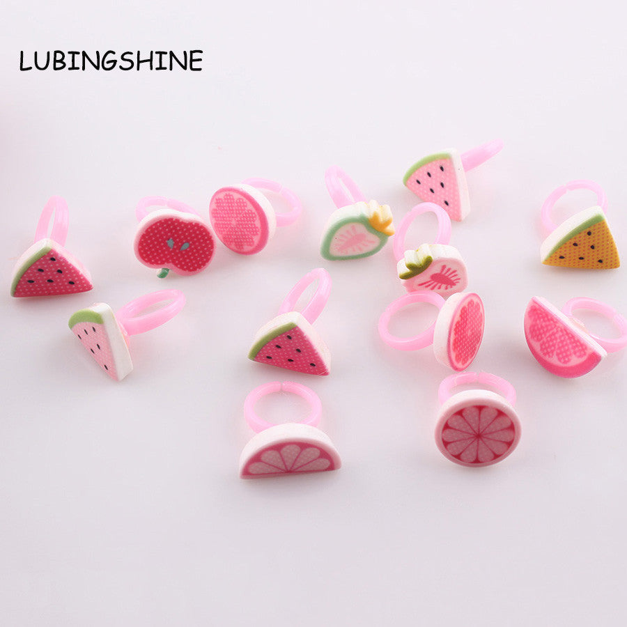 Mixed Wholesale 10pcs/lot Kids Children Fruit Rings Cute 3D Fruit Watermelon Ring Adjustable Rings For Gift JJAL R110