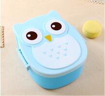 1000ml Cartoon Owl Lunch Box Food Fruit Storage Container Portable Bento Box Food-safe Food Picnic Container for Kids Gifts